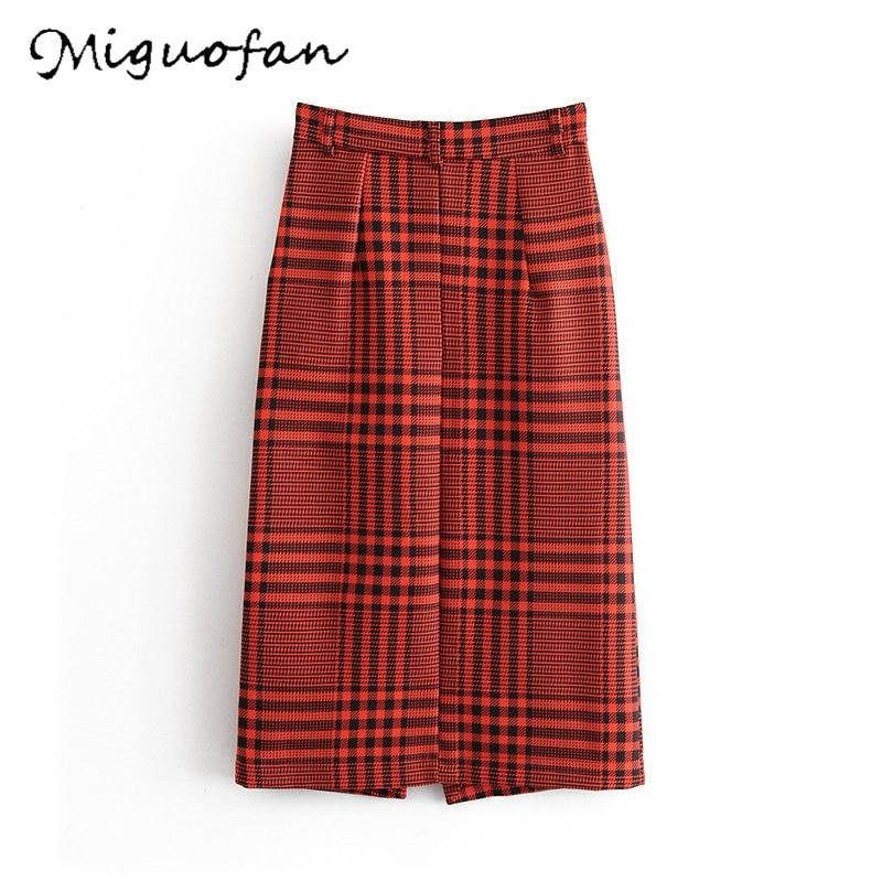 women plaid skirts split skirt vintage midi skirt faldas mujer zipper pockets female elegant office wear mid calf skirts ZA 2020