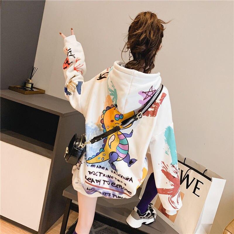 Mulher com capuz graffiti print plus veludo grosso senhoras com capuz ins super fogo preguiçoso estilo jaqueta primavera e outono fino