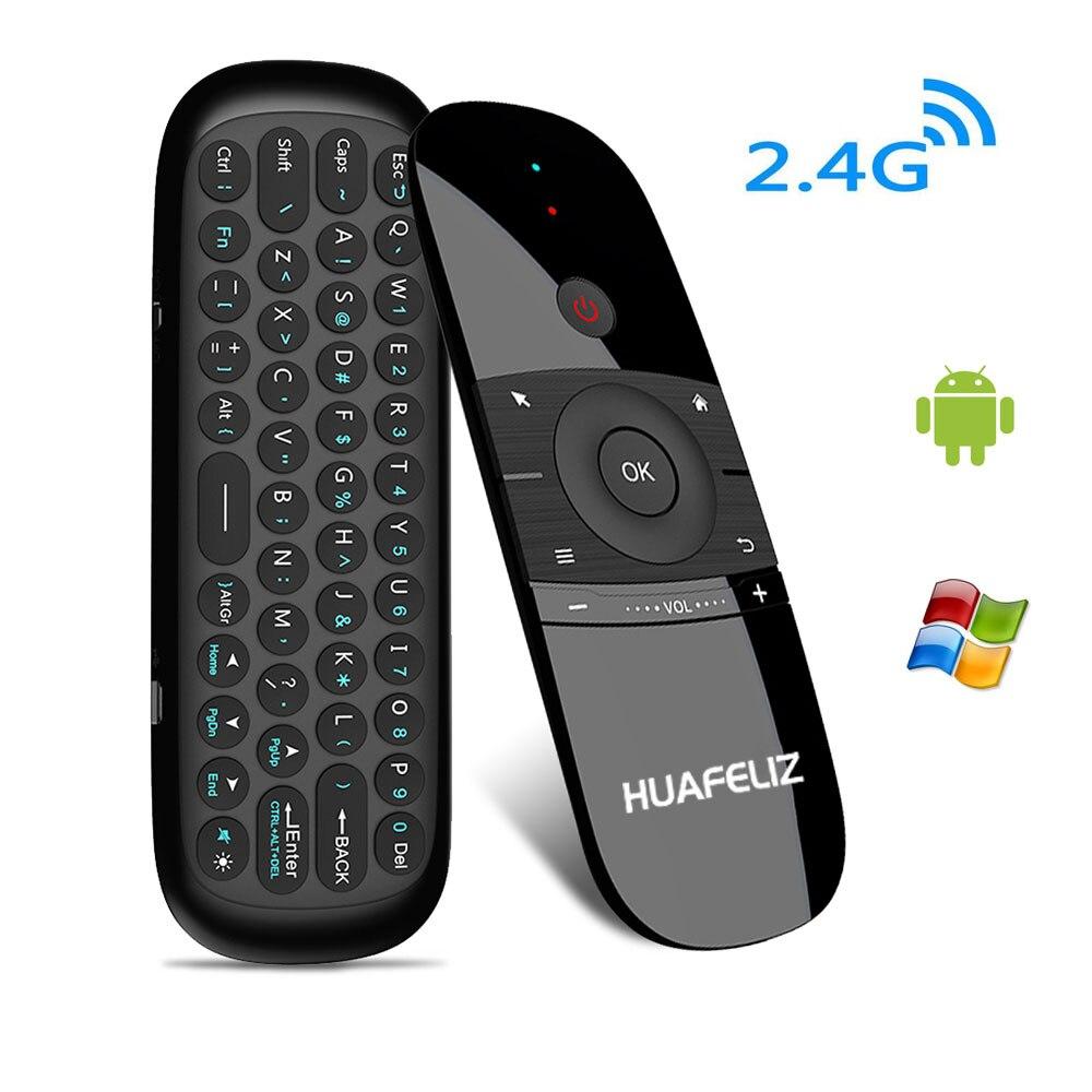 Hot W1 Fly Air Mouse Teclado Sem Fio 2.4G Recarregável Movimento Sense Mini Controle Remoto Para Smart TV BOX Android