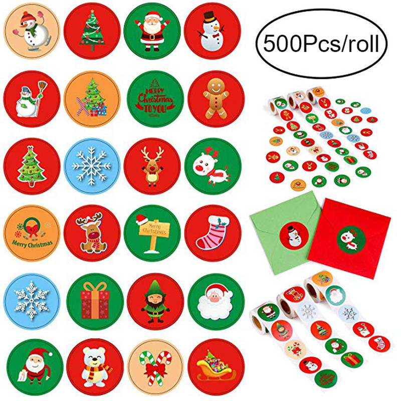 500Pcs/lot Christmas Holiday Stickers Roll 8 Styles Card Envelopes Stocking Party Favors Snowflakes, Santa For Child Sticker