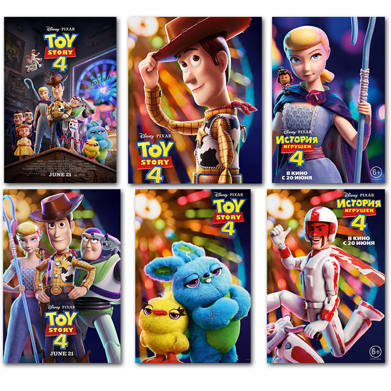 2019 New Toy Story 4 Movie Poster Cartoon Hanging Painting Animation Characters Cuadros Wall Pictures For Living Room Studio