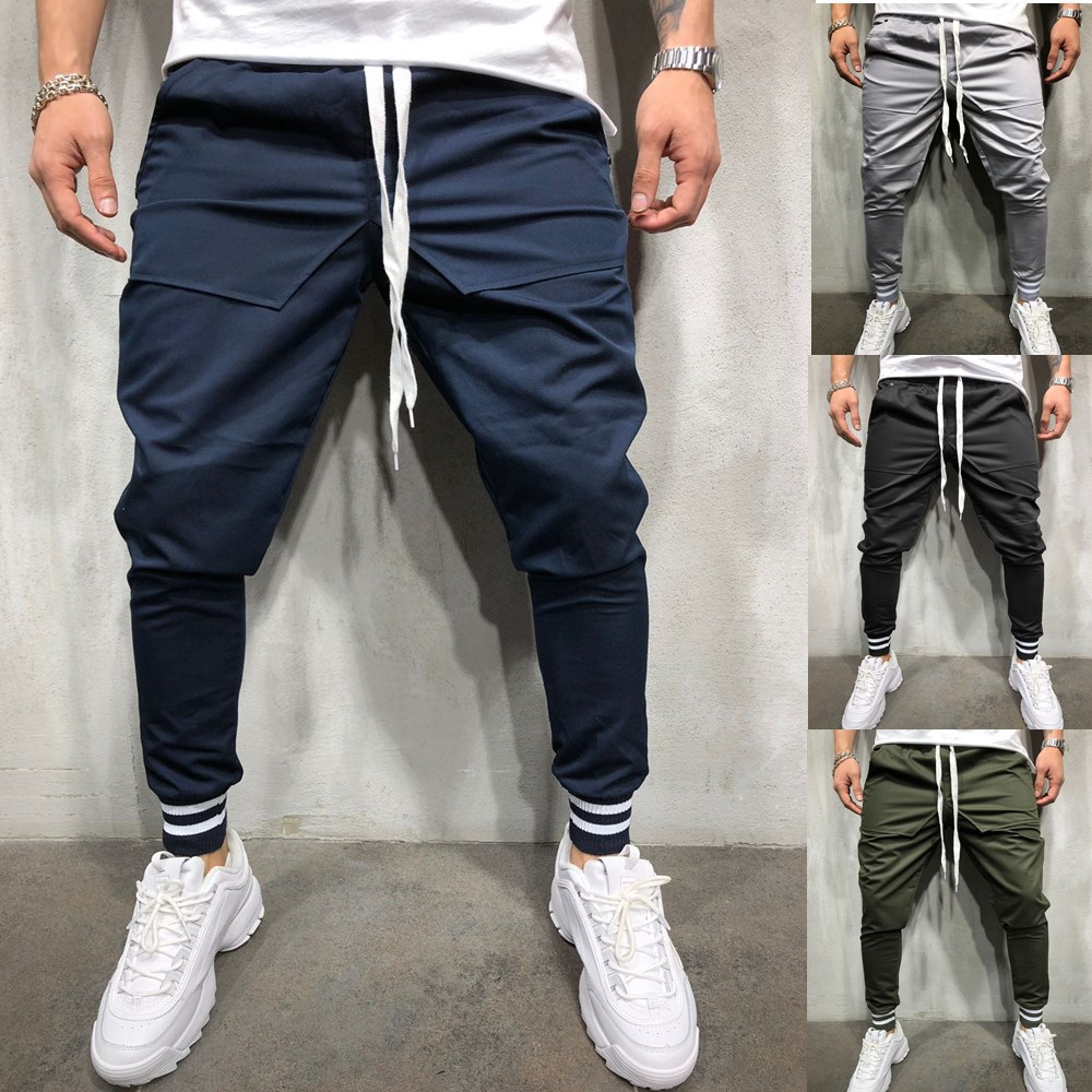 Autumn and Winter New Men's Personality Hip-hop Style Stitching Cotton Casual Beam Pants Fitness Sports Pants