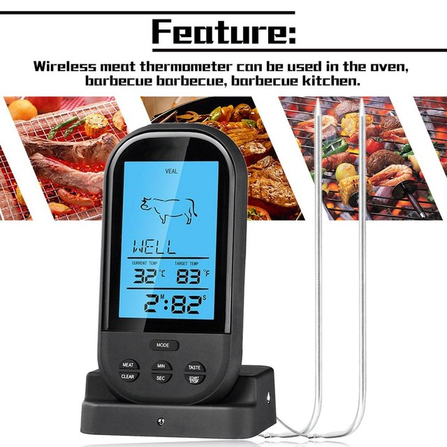 2021 Black Wireless Digital LCD Display BBQ Thermometer Kitchen Barbecue Digital Probe Meat Thermometer BBQ Temperature Tool 2