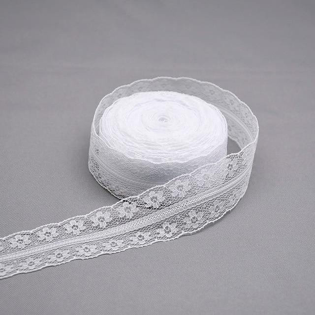 10 yardas blanco encaje Beige cinta ropa de tejido de costura de encaje recorte para artesanía de regalo DIY de embalaje de cinta para prenda Accesorios