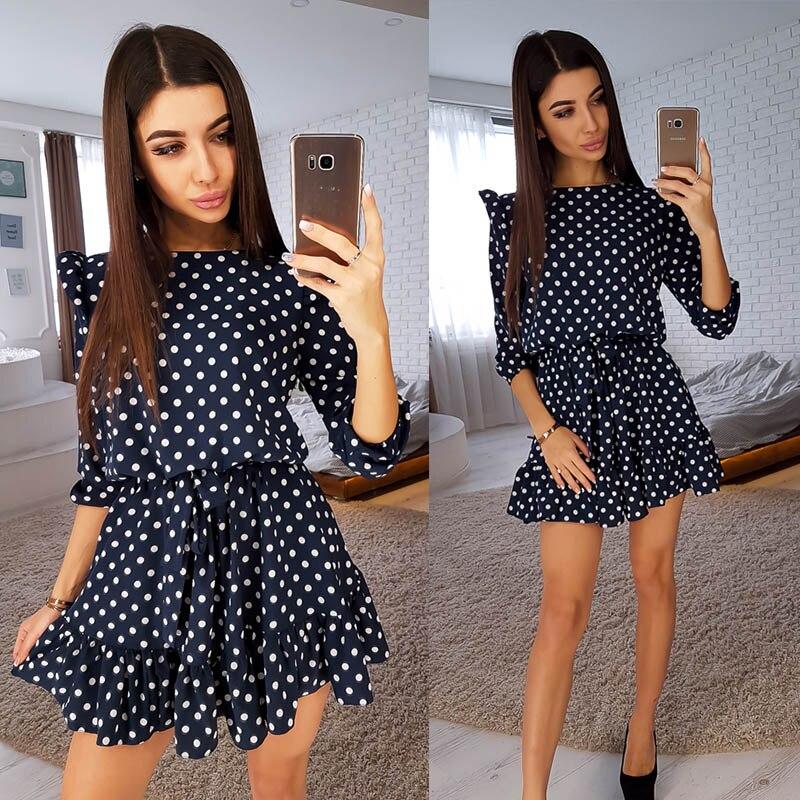Sweet Cute Ruffle Trim Dot Print Dress Women Fashion Sashes 3/4 Sleeves Round Neck Casual Autumn Dress Girls A Line Mini Dresses
