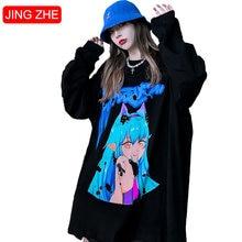 Jing zhe женские Японские футболки пара Симпатичные комиксов