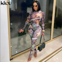 Kliou Aesthetic Print Co-ord Jumpsuit Women Zip-Up Skinny Elastic Turtleneck Autumn Female Party Clubwear Street Style Outfits