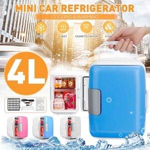 Image 1 - 2 في 1 4L سيارة صغيرة محمولة ثلاجات ثنائي الاستخدام المحمولة دفئا مبرد مع مجمد التخييم الثلاجة سيارة السفر الثلاجة