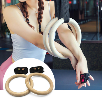 28/32mm Wood Gymnastic Rings Gym Ring Adjustable Long Buckles Straps Workout Home Fitness Gym Crossfit Strength Training