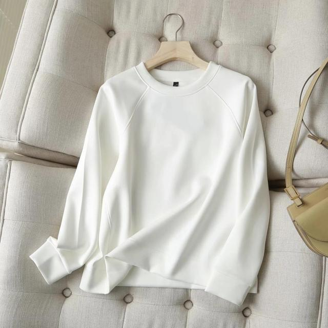 Withered 2020 Winter Hoodies Women England Style Fashion O-neck Causal White Color Solid Simple Loose Sweatshirt Pullovers Tops 2