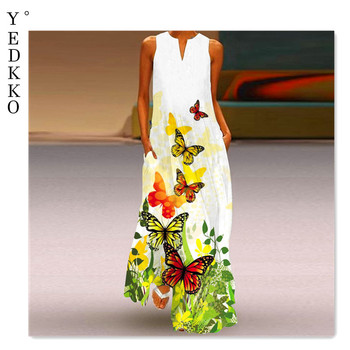 Okkdey2021 summer fashion women's sleeveless long dress v-neck printed jade flower one-piece dress 25 color options 1