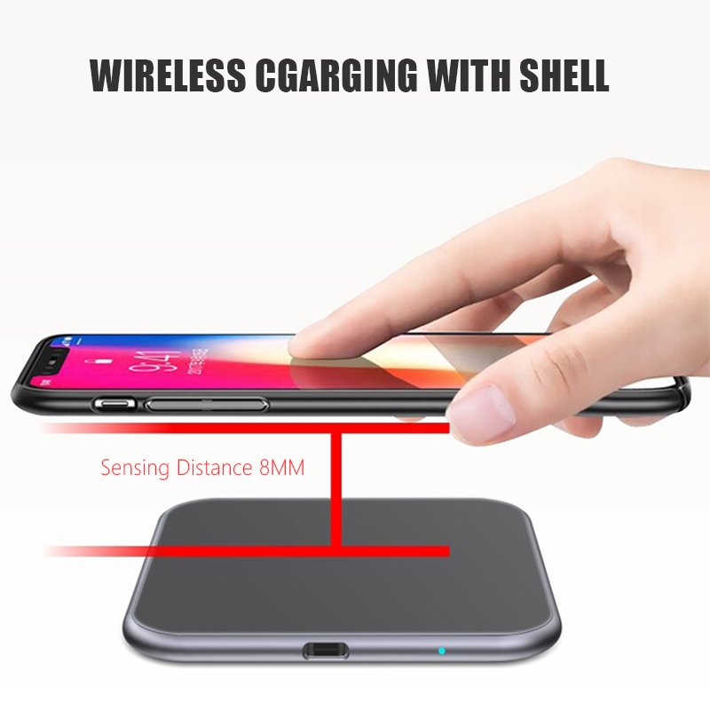 Ultra-thin Metal Square 15W Wireless Quick Charger for iPhone X Samsung Note 10 Huawei Mate 20 Pro Qi Fast Wireless Charging Pad