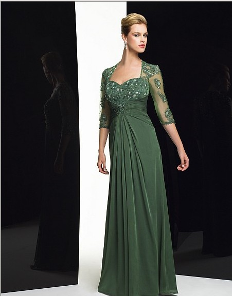 Free Shipping Maxi 2018 New Design Vestido De Festa Green Party Evening Elegant Sleeves Formal Gown Mother Of The Bride Dresses