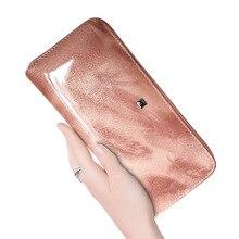 HH women's wallet Genuine Leather Female Purses Handle Clutch Wallets for Phone Design Ladies Long Purse Long Wristlet Clutch