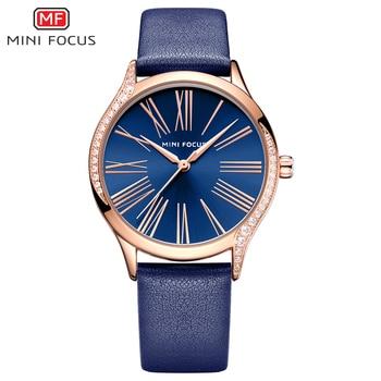 MINIFOCUS relojes de mujer a prueba de agua correa de cuero azul marca superior de lujo moda Casual cuarzo Ladys reloj de pulsera Relogio Feminino