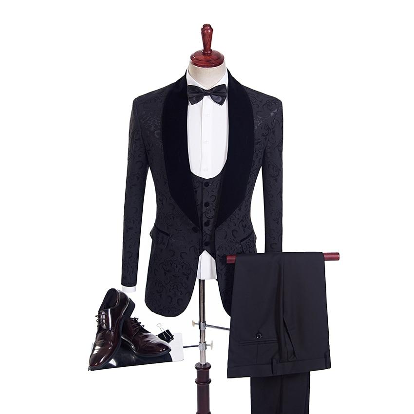 Elegant Groom Groomsmen Wedding Tuxedos Men Suits Jacquard Business Man Fitted Suit Custom Slim Prom Wear For Mens