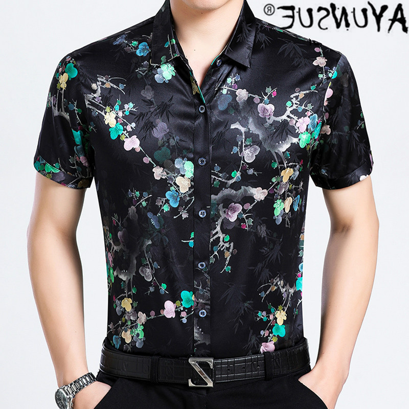 Silk fasting - men's shirt, printed short sleeve shirt, casual, crew neck, summer, js566992021