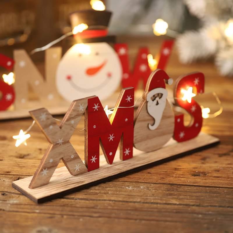 Christmas Wooden Decoration Xmas Snowman Santa Pattern Letter Ornament Home Party Desktop Printing OrnamentsCM