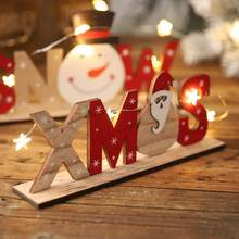 Christmas Wooden Decoration Xmas Snowman Santa Pattern Letter Ornament Home Party Desktop Printing OrnamentsCM