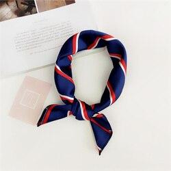 50*50cm cuadrado bufanda banda de lazo para el pelo para mujeres de fiesta de negocios elegante pequeño Vintage Delgado Retro cabeza cuello seda satén bufanda