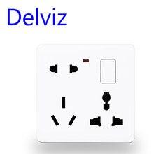 Delviz EU standard universelle Buchse, auf-off control, 110V - 250V 86mm * 86mm, UK pop steckdose küche power steckdose