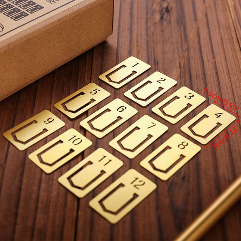 12Pcs Brass Bookmarks Number Metal Index Clamp Line Book Marker Stationery School Supplies Gift