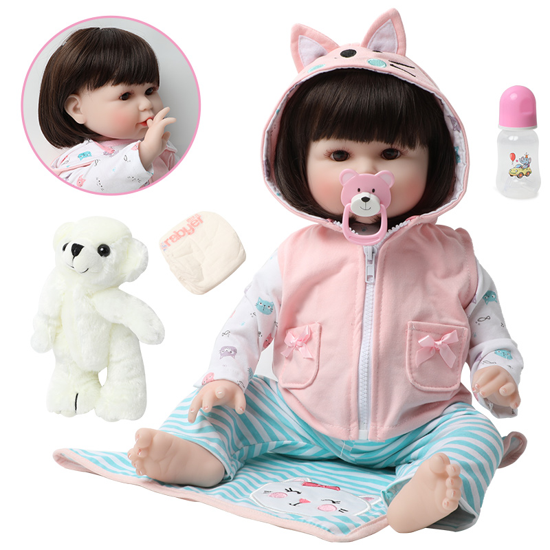 56 CM reborn toddler princess girl doll adorable Lifelike Baby Bonecas bebe doll reborn baby doll toys kids Gifts with a Bear