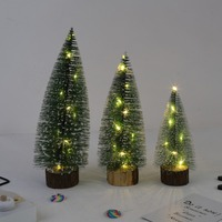 Christmas Tree Tabletop Ornaments Miniature Pine Frosted With LED Design Trees With Wood Base Crafts Home Party Decoration