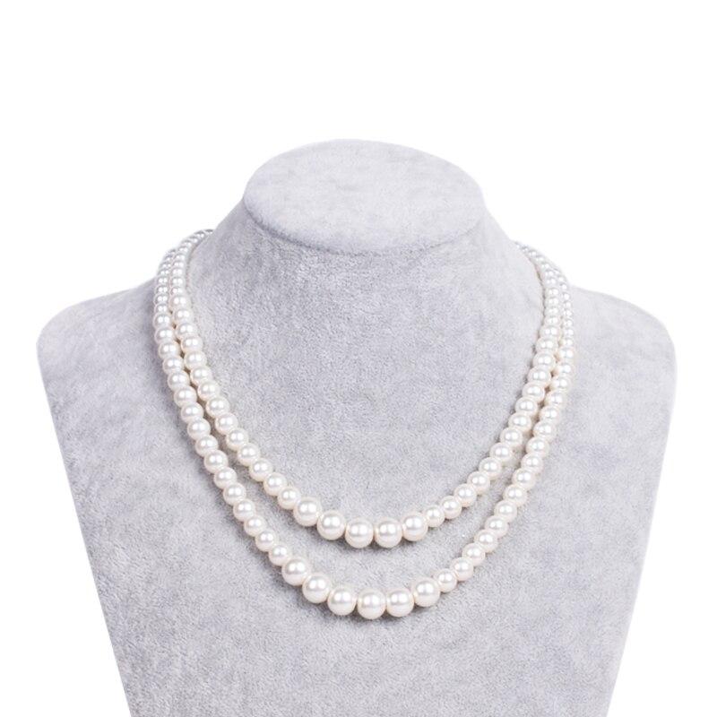 O colar de pérolas de vidro 1940 intocada, o casamento vintage de dois colares de noiva de marfim, o estilo de arte 1920 de jóias gatsby.