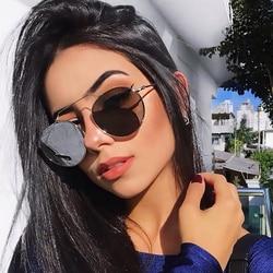 2020 New Round Mirrored Sunglasses Ladies Thin Geometric Brow bar Shades For Women Men Retro Round Glasses Small Celebrity UV400