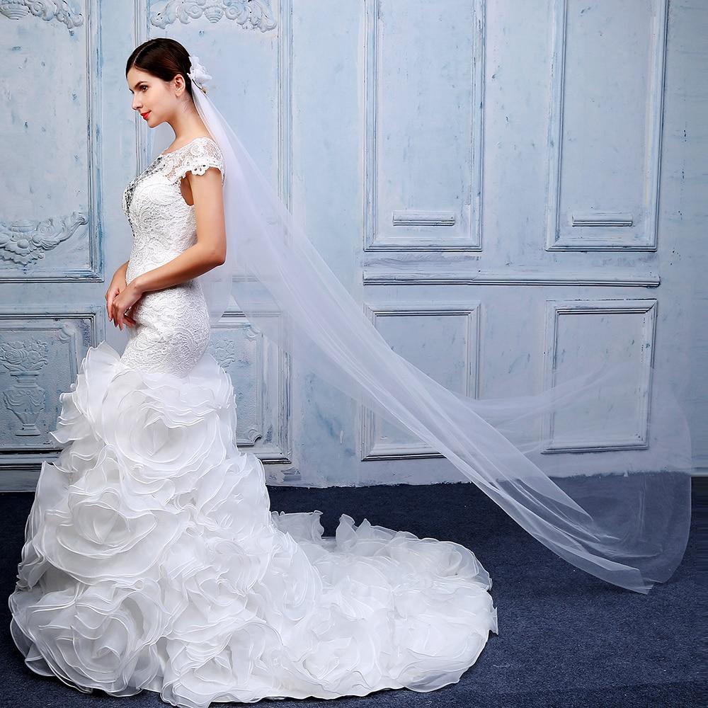 Elegant Woman Chapel Veil Soft Tulle Handmade 3d Flower With Cut Edge Veils Velo De Novia Wedding Dress Accessories With Comb