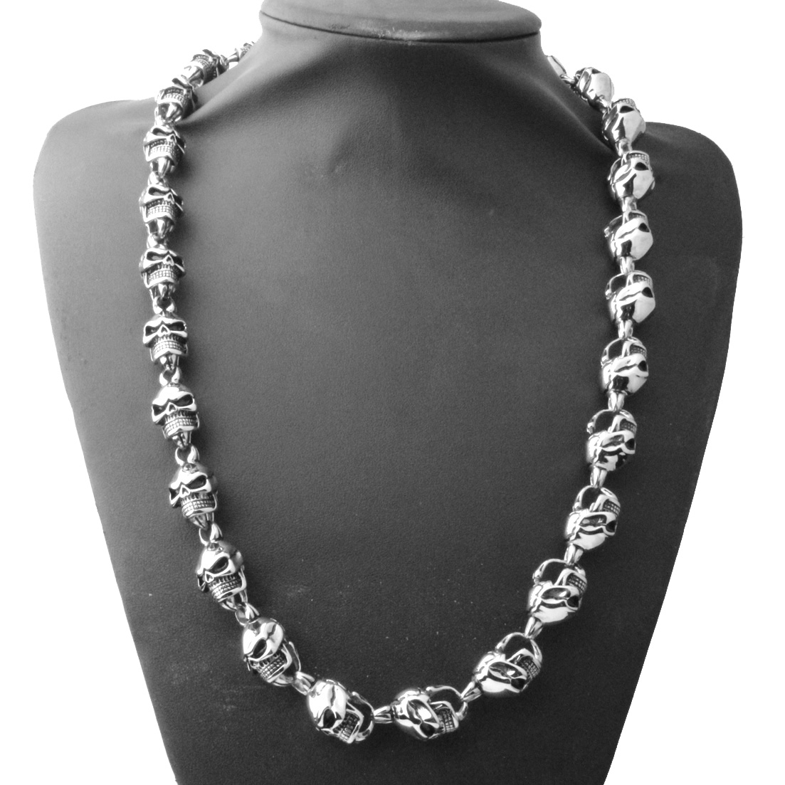 15MM Rock Roll 316L acier inoxydable argent noir couleur squelette crâne lien chaîne Biker bijoux collier pour hommes 24