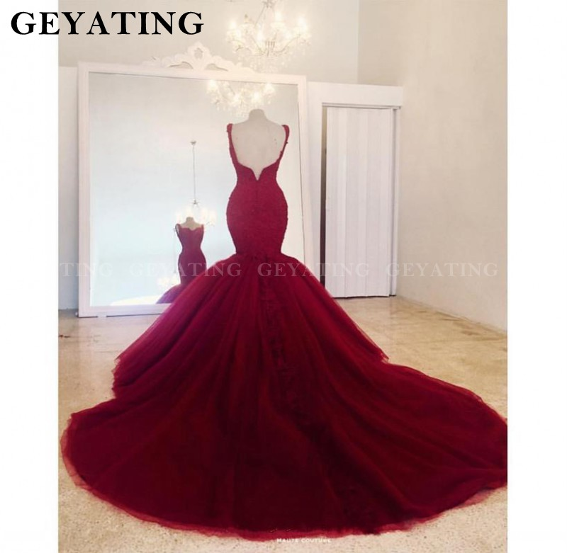 Robe de mariée sirène Tulle rouge vin 2020 dentelle Appliques perlée Court Train robes de mariée Sexy col en V dos nu robes de mariée - 5