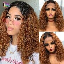 Human-Hair-Wigs Short Lace-Wig T-Part Deep-Curly Preplucked Women Brazilian 4x4 Bob