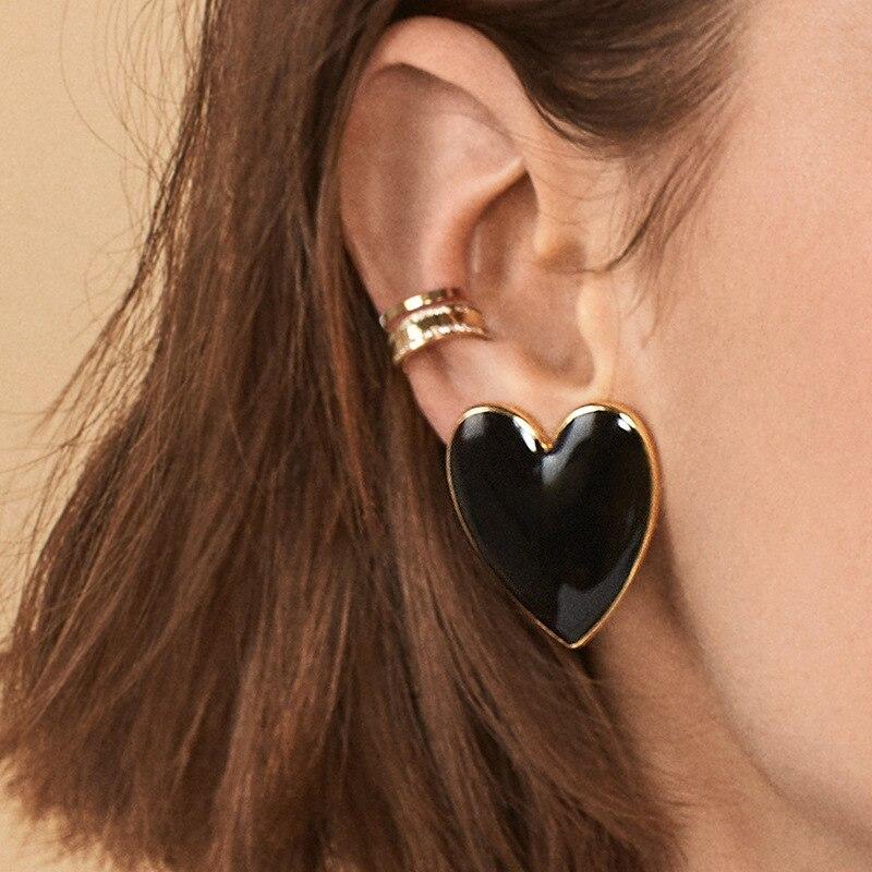 big Street Style Bohemian Love Heart Stud Earrings For Women Cute Statement Earring Korean Jewelry Anti-allergy Wholesale(China)