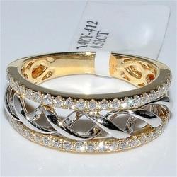 Женское кольцо с бриллиантами, ювелирное изделие из золота 14 к, 2 карата
