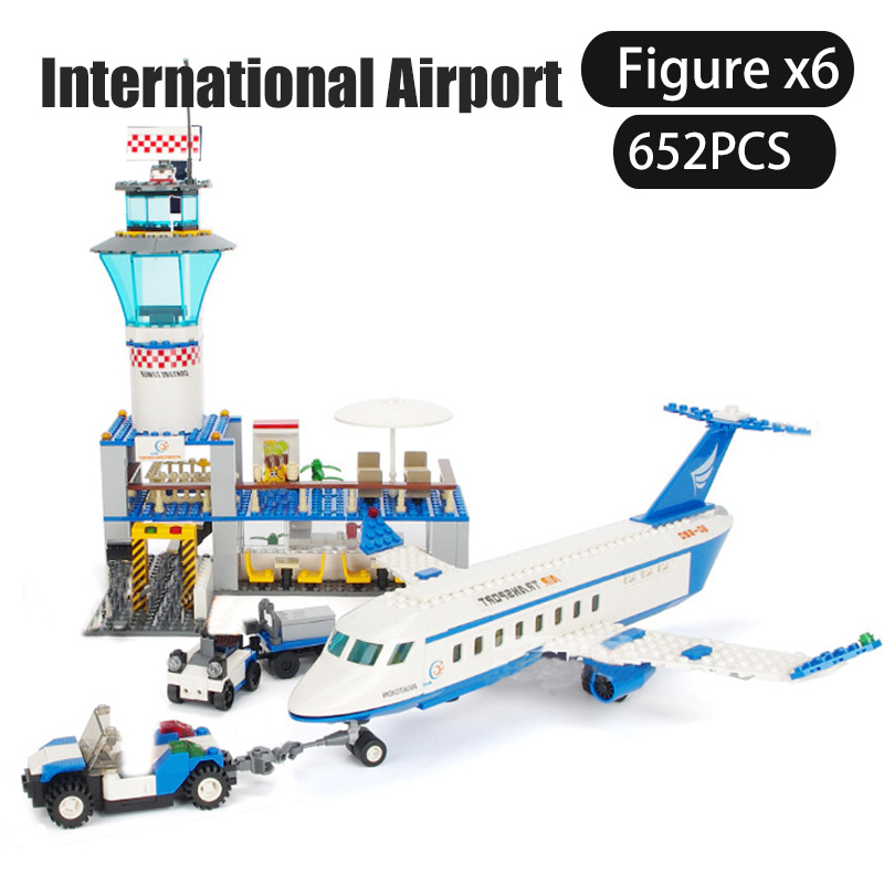 652pc Kids International Passenger Airport Building Blocks Airplane Adventure