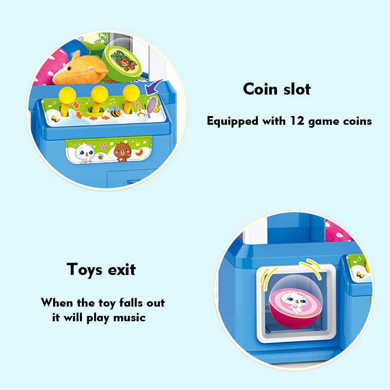 2019 şeker kapmak arkadan aydınlatmalı düğme masaüstü Mini bebek kapmak makinesi pençe oyuncaklar Mini Arcade otomat yuvası oyunu çocuklar için