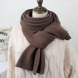 Брендовый женский зимний шарф Корейская версия сплошной цветной нагрудник мужской длинный вязанный утолщенный теплый платок модный шарф д...