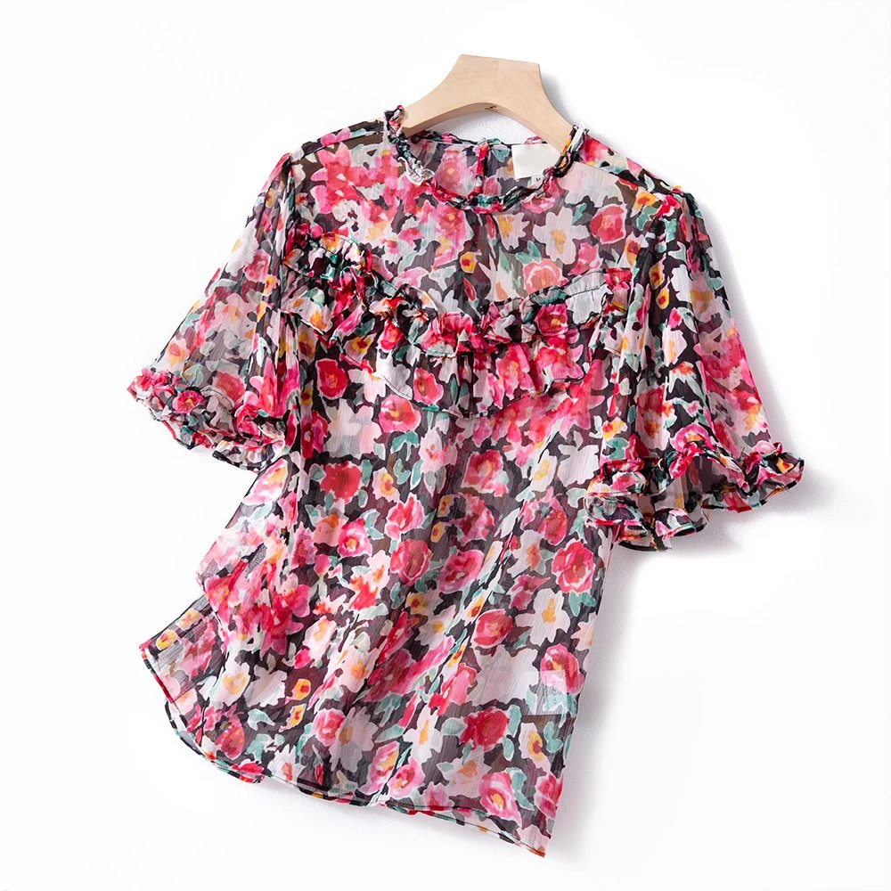 Sweet Floral Print Women Shirt 2020 Spring Summer New Ruffles Chic O-neck Short Sleeve Lace-up Lady Shirt