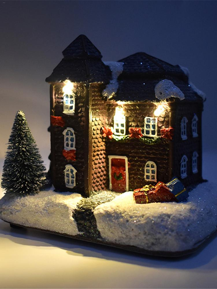 Christmas Snow House Figurine LED Light Novelty Ornament Christmas Gift For Kids Lightahead Musical Christmas Snow House