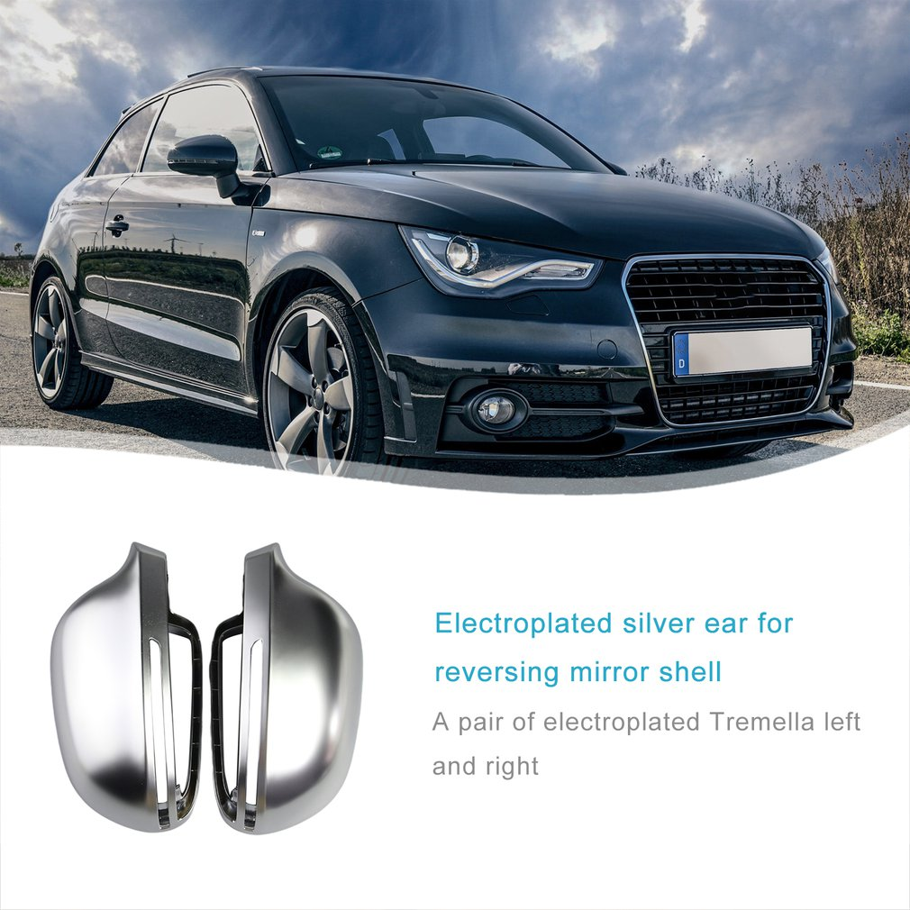 1 pair Car Mirror Cover For Audi B8 A3 A4 A5 A6 S4 RS4 S6 RS6 1 Pair of Matte Chrome Rearview Mirror Cover Protection Cap image