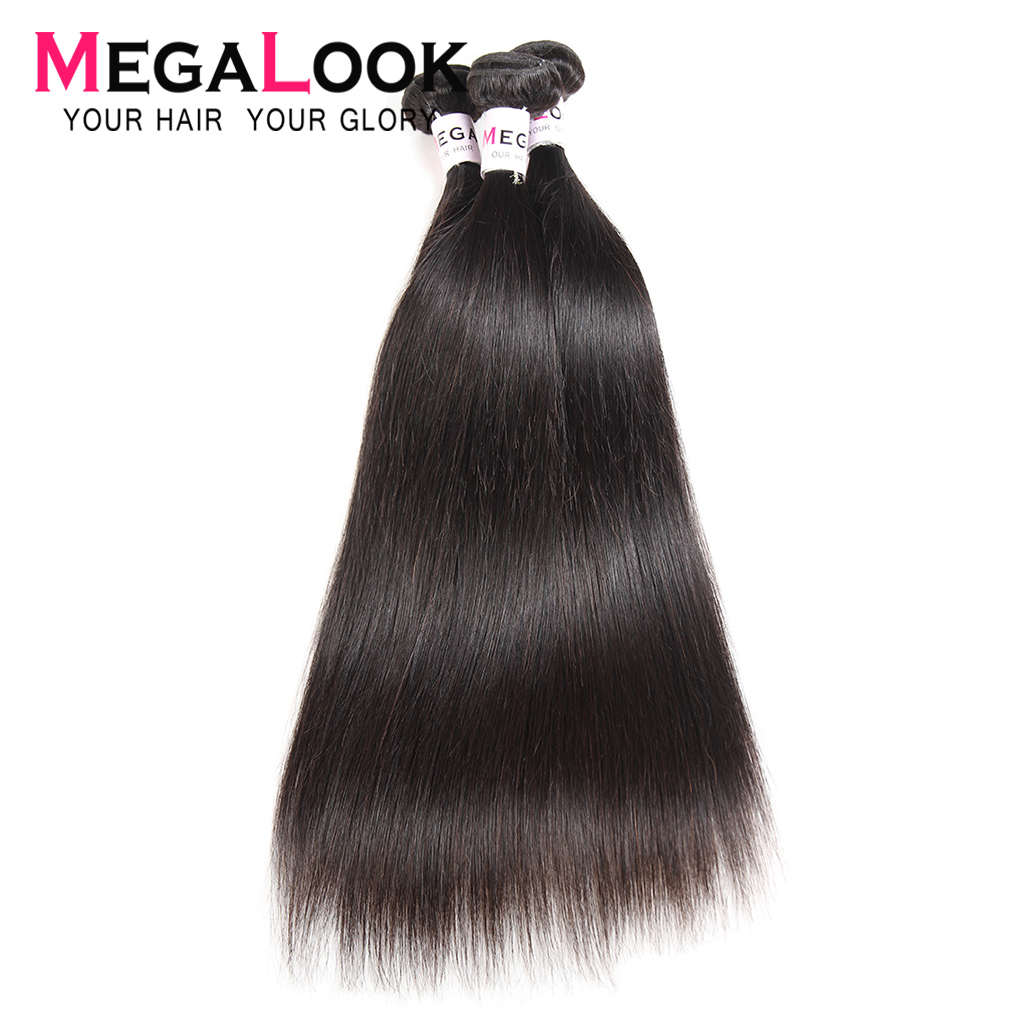 Brazilian Hair Weave Bundles 3 Bundles Straight Hair Bundles 4 30 Inch Bundles 40 Inch  Bundle Deals Megalook Remy Human Hair