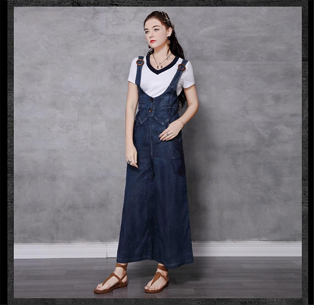Vintage Women Denim Jumpsuit 2020 Summer Bodysuit Embroidery Color Blocks Spaghetti Strap Jumpsuits Overalls Femme 82208 (8)