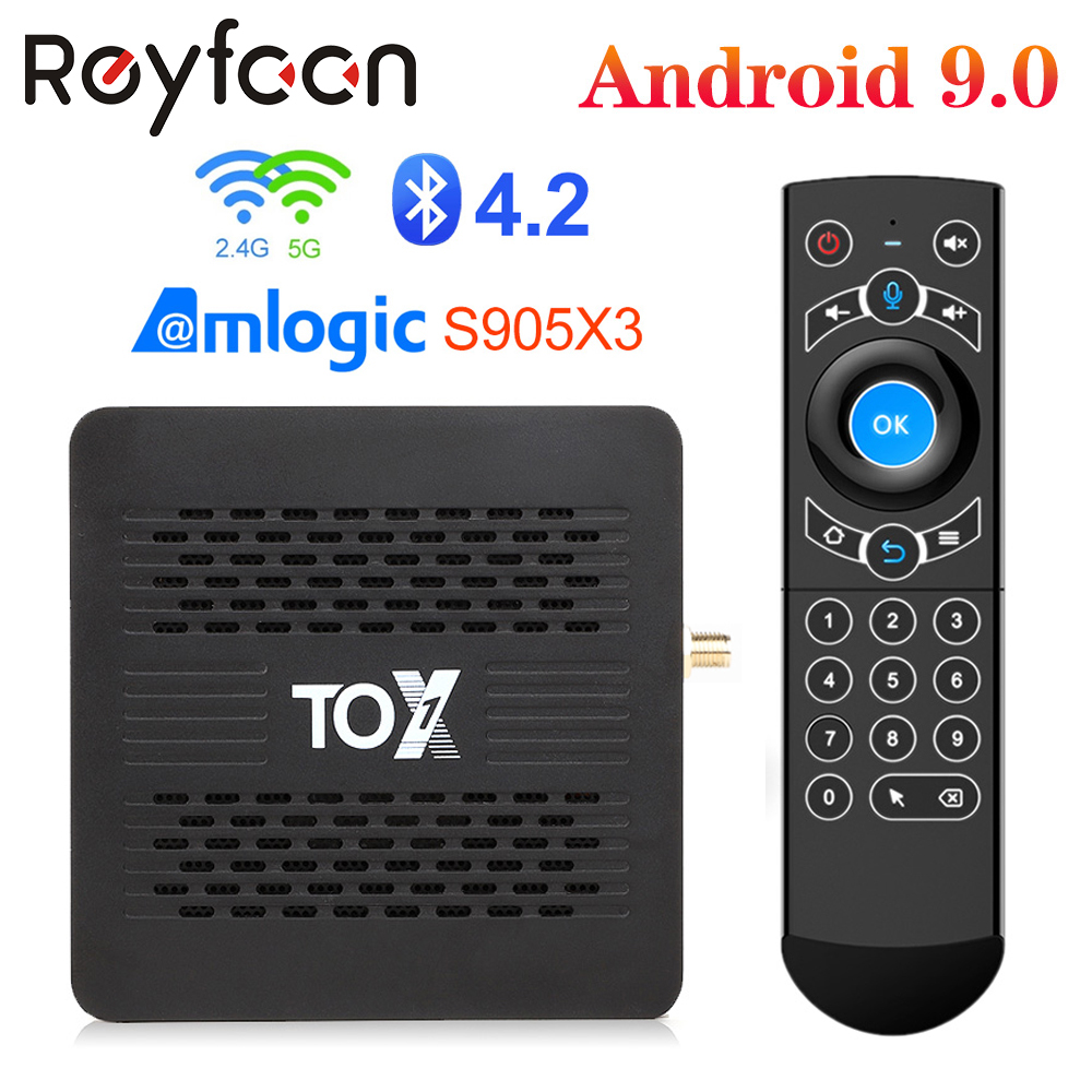 Tox1 android 9.0 smart tv box 4gb 32gb amlogic s905x3 duplo wifi 1000m bluetooth 4.2 4k media player para dolby atmos áudio tvbox