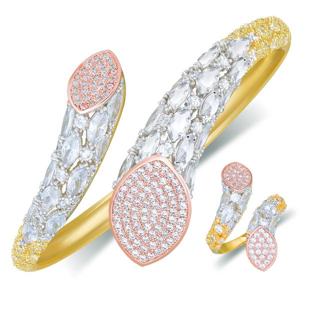 Modemangel Luxe Merk Super Aaa Zirconia Koperen Bangle Ring Set Jurk Engagement Party Wedding Bridal Jewelry Voor Vrouwen