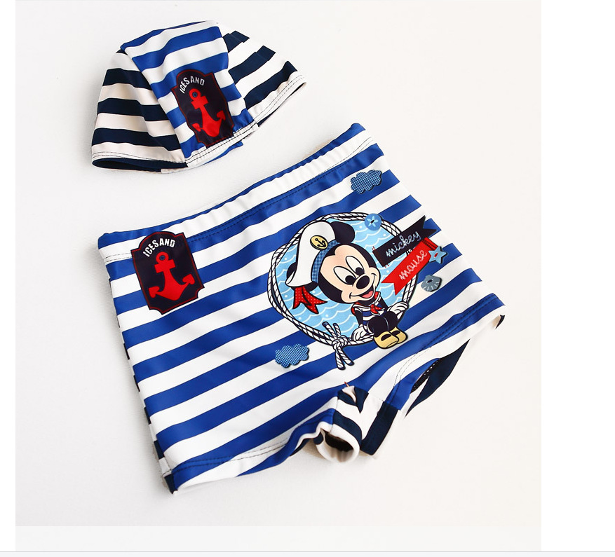 New Style CHILDREN'S Swimming Trunks BOY'S Baby Mickey Striped Blue Navy Style Boxer Swimming Trunks