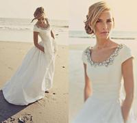 Modern Wedding Dresses with Pocket Short Sleeves Scoop Beading White Taffeta Cheap Spring Beach Wedding Bridal Gowns Customed
