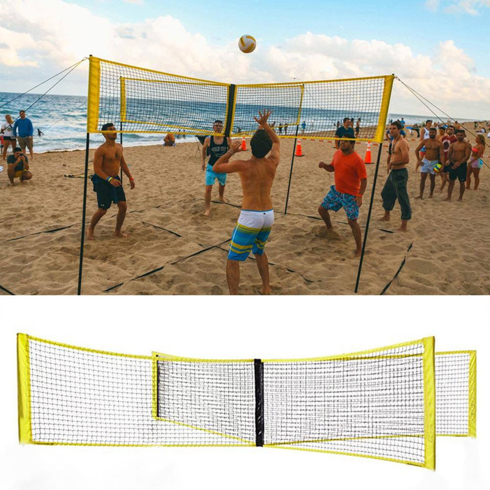 Volleyball Net Four-sided PE Durable Cross Volley Ball Training Net Sports Badminton Game Net Four-sided Cross Volleyball Net