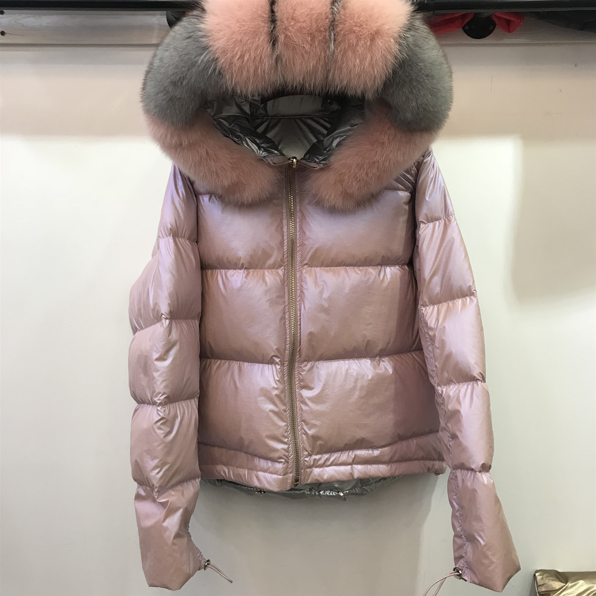 Real Natural Fox Fur Hooded   Coat   2019 Winter Jacket Women Loose Short   Down     Coat   White Duck   Down   Jacket Thick Warm   Down   Parka